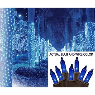 "Mini Light Tree Trunk Wrap Christmas Light Net Bulb Color: Blue, Wire Color: Brown, Size: 44"" W x 96"" D"