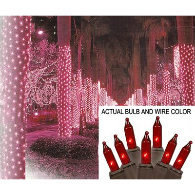 """Mini Light Tree Trunk Wrap Christmas Light Net Wire Color: Brown, Size: 44"""" W x 96"""" D, Bulb Color: Red"""