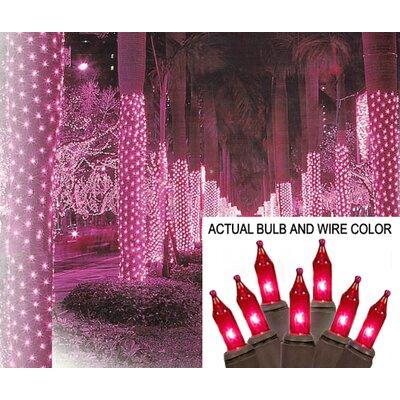 "Mini Light Tree Trunk Wrap Christmas Light Net Bulb Color: Pink, Wire Color: Brown, Size: 44"" W x 96"" D"