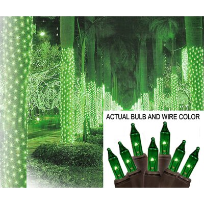 "Mini Light Tree Trunk Wrap Christmas Light Net Wire Color: Brown, Size: 44"" W x 96"" D, Bulb Color: Green"
