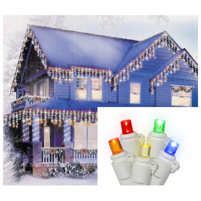 "70 Light LED Wide Angle Icicle Christmas Light String Wire Color: White, Size: 3"" H x 4"" W x 7.5"" D, Light Color: Multi"