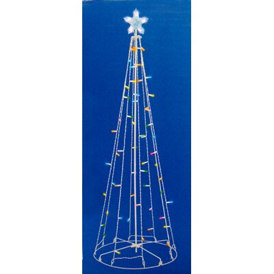 5' LED Lighted Outdoor Show Cone Christmas Tree Yard Decoration Light Color: Multi