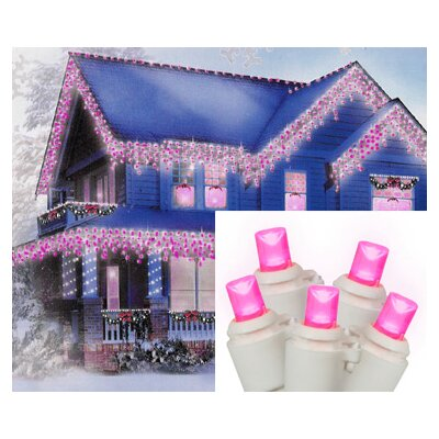 "70 Light LED Wide Angle Icicle Christmas Light String Wire Color: White, Size: 3"" H x 4"" W x 7.5"" D, Light Color: Hot Pink"