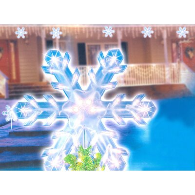 Lighted Twinkling Christmas Snowflake Tree Topper Pathway Marker