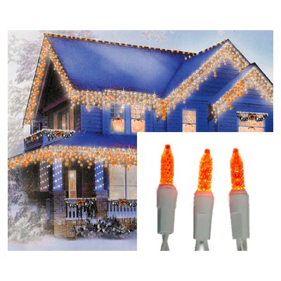 "70 Light LED Wide Angle Icicle Christmas Light String Wire Color: White, Size: 3"" H x 4"" W x 7.5"" D, Light Color: Orange Gold"