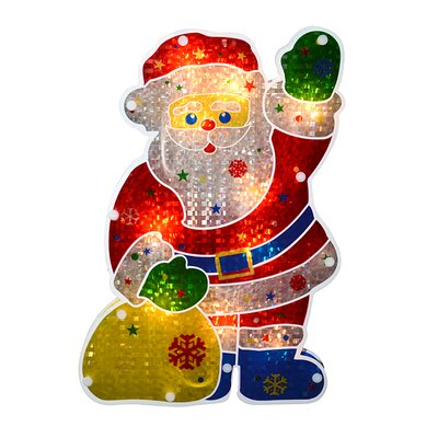 Double-Sided Holographic Santa Claus Christmas Window Silhouette