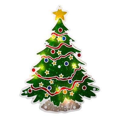 Holographic Christmas Tree Window Silhouette