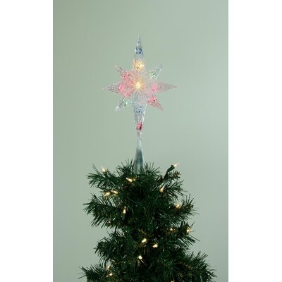 Lighted Clear Faceted Bethlehem Star Christmas Tree Topper Color: Multi