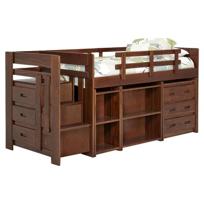 Twin Loft Bed with Storage Color: Dark