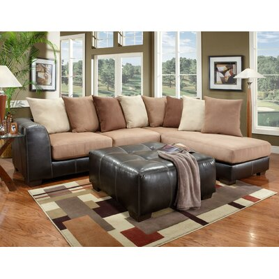 Landon Sectional Upholstery: Black/Beige