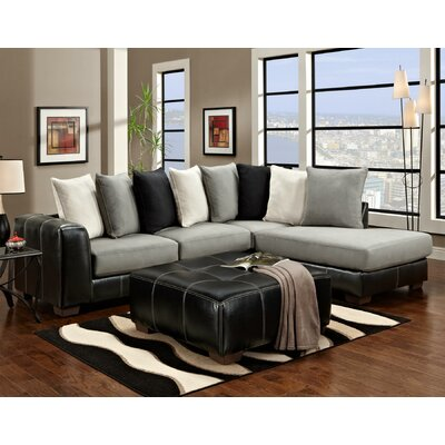 Landon Sectional Upholstery: Black/White