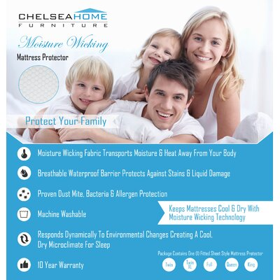 Chelsea Home Moisture Wicking Mattress Protector - Size: King