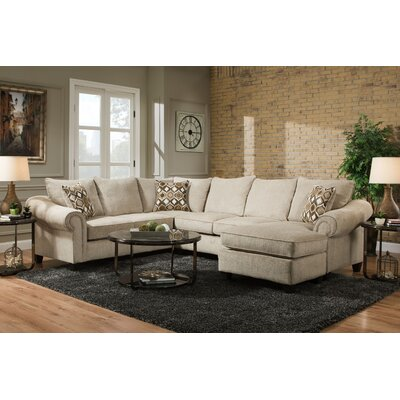 Edgar Sectional Orientation: Right Hand Facing, Upholstery: Caravane Platinum