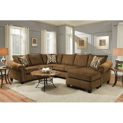 Edgar Sectional Upholstery: Caravane Chocolate, Orientation: Right Hand Facing