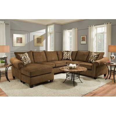Edgar Sectional Upholstery: Caravane Chocolate, Orientation: Left Hand Facing