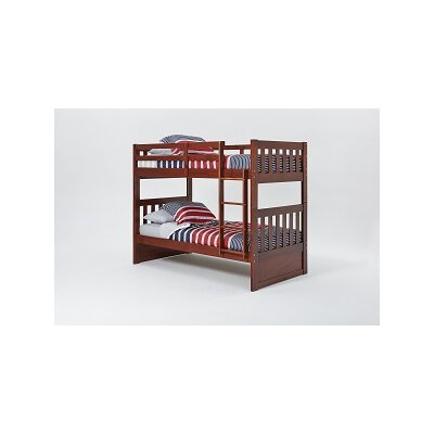 Mission Bunk Bed with Ladder Color: White, Size: Full over Full