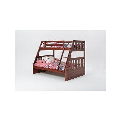 Mission Twin Over Full Bunk Bed with Ladder Finish: Dark Brown
