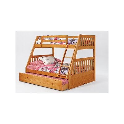 Mission Twin Over Full Bunk Bed with Trundle and Ladder