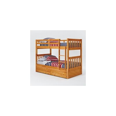 Mission Twin Over Twin Bunk Bed with Under Storage and Ladder
