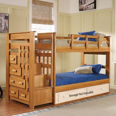 Twin Over Twin Bunk Bed with Stairway