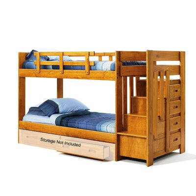 Twin Over Twin Bunk Bed with Reversible Staircase