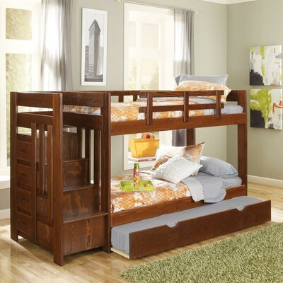 Twin Over Twin Bunk Bed with Trundle and Reversible Stair