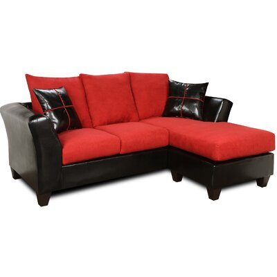 Sectional Upholstery: Denver Black / Victory Cardinal