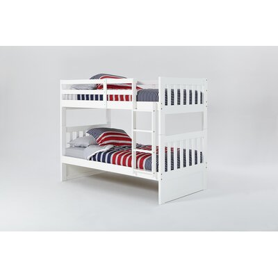 Mission Bunk Bed with Ladder Color: White, Size: Twin over Twin