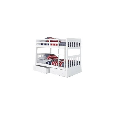 Mission Twin Over Twin Bunk Bed with Under Bed Storage and Ladder