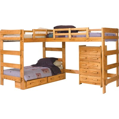 L-Shaped Bunk Bed with Storage