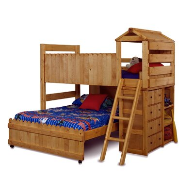 Vintage Twin Over Full L Shaped Bunk Bed with Ladder