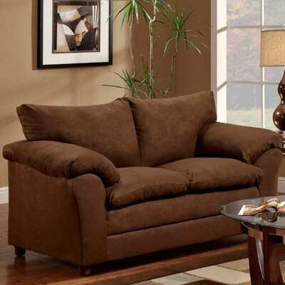 Gail Loveseat Upholstery: Flatsuede Chocolate