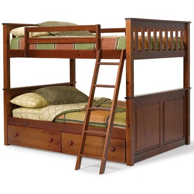 Full over Full Bunk Bed with Storage Finish: Dark