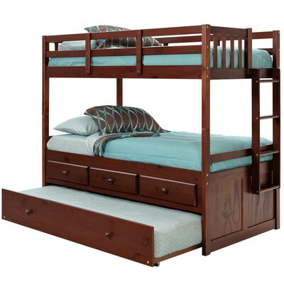 Twin Bunk Bed with Trundle and Storage Finish: Dark