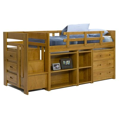 Twin Loft Bed with Storage Finish: Honey