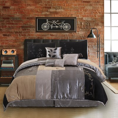 Back to Nature 7 Piece Complete Comforter Set Size: Twin, Color: Charcoal