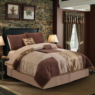 Back to Nature 7 Piece Complete Comforter Set Color: Mocha, Size: Twin