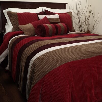 Hudson Street Geo 6 Piece Complete Comforter Set - Color: Red Size: Full
