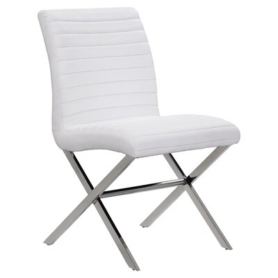 Sasha Upholstered Dining Chair (Set of 2) Color: White