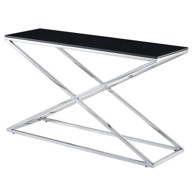 Excel Rectangle Console Table Glass Color: Black