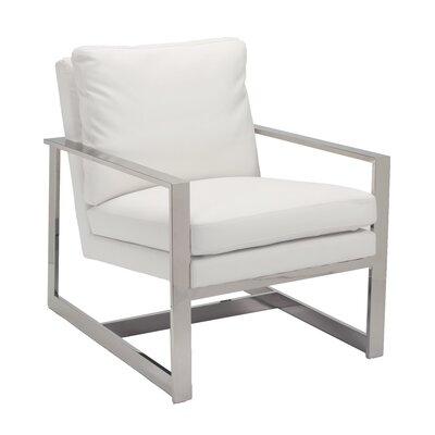 Christopher Armchair Color: White Leatherette