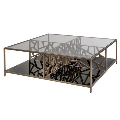 Cracked Ice Coffee Table Finish: Gilt Medium Bronze, Bottom Shelf finish: Smokey Grey
