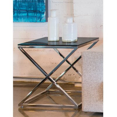 Excel End Table Glass Color: Black