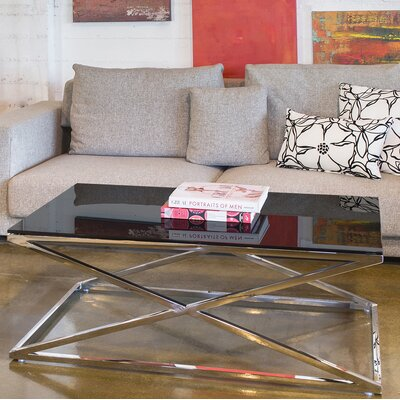 Excel Coffee Table Color: Black Glass