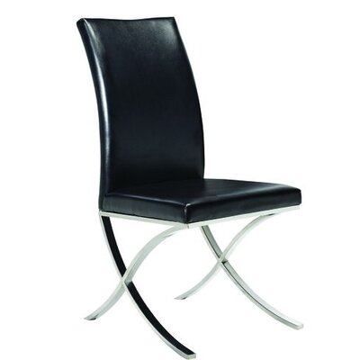 Emma Upholstered Dining Chair Color: Black