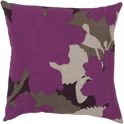 Captivating Cattail Cotton Throw Pillow Size: 22 H x 22 W x 4 D, Color: Raspberry/Prune Purple/Kelp Brown/Cobble Stone, Filler: Down