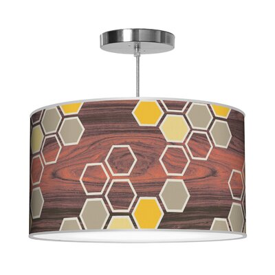 Organic Modern Hex Pendant Size: 9 H x 16 W x 16 D, Shade Color: Yellow