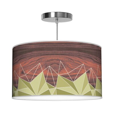 Organic Modern Facet Pendant Shade Color: Green, Size: 9 H x 16 W x 16 D