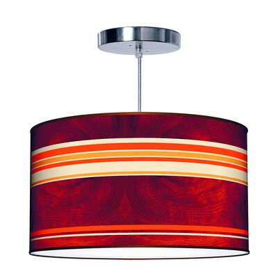 Organic Modern Stripey Horizontal Pendant Size: Large, Color: Orange