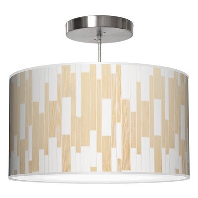 Tile 1 Drum Pendant Shade Color: White Oak, Size: 12 H x 30 W x 30 D